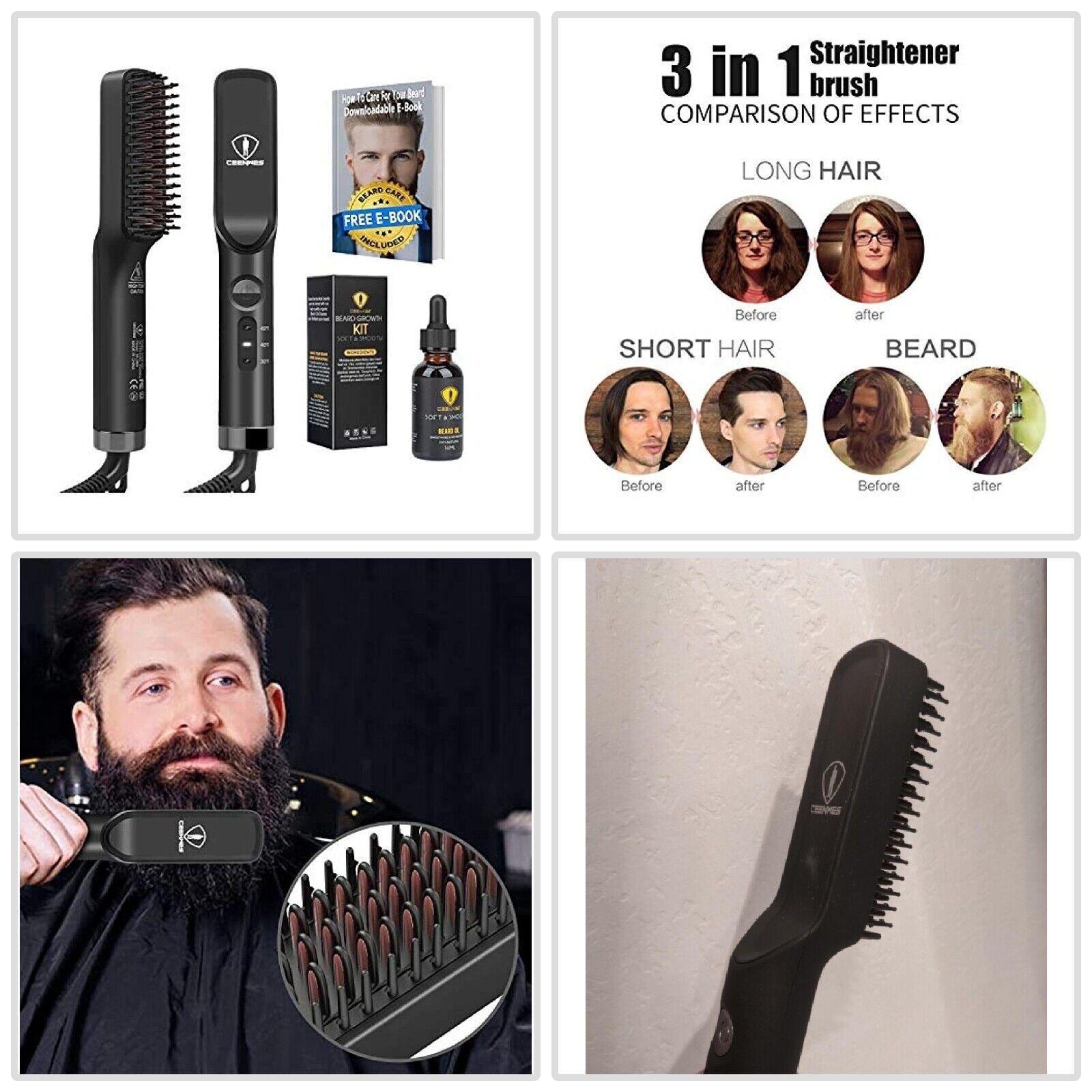 Beard Straightener Hot Comb Quick Electric Heated Beard Brus
