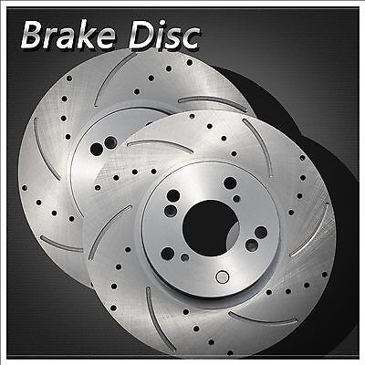Set of 2 Front Left+Right Drilled Slotted Vented Zinc Coated Disc Brake Rotors