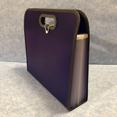 Expanding Portable Organizer 13 Pocket File Folder With Handles Purple Guc