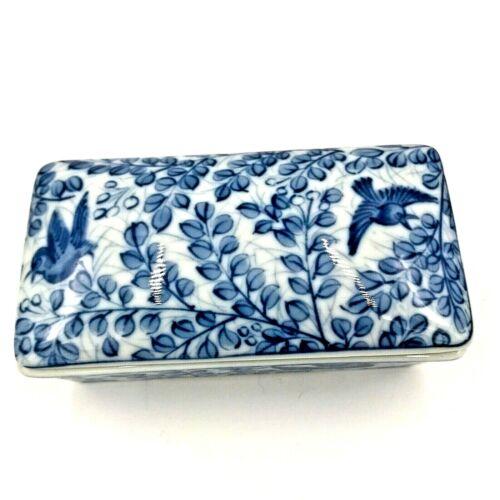 Vintage Japanese Chinese Porcelain Trinket Box Birds Blue Chinoiserie