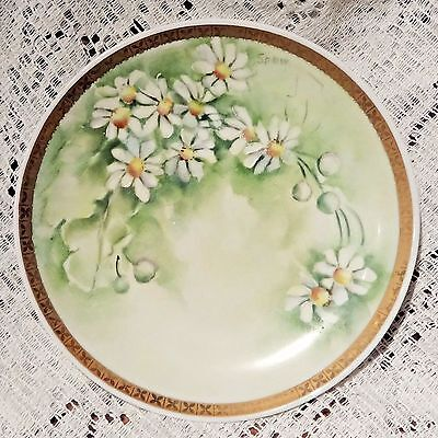 """ANTIQUE RS GERMANY PORCELAIN HAND PAINTED & SIGNED FLORAL PATTERN 6"""" PLATE - 2"""