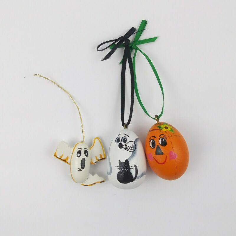 Hand Painted Wood Halloween Ornaments Black Cat Ghost JOL Pumpkin Vintage 1985
