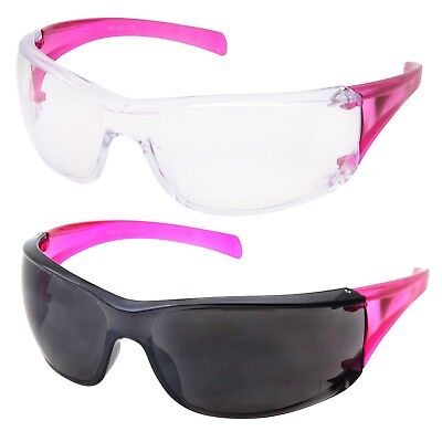 2 Pack Womens Safety Glasses Shooting Frame Pink Black Clear Lens Girls Z87
