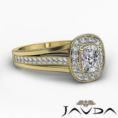 Cushion Diamond Halo Engagement GIA F VVS2 18k Yellow Gold Milgrain Ring 1.61Ct 2