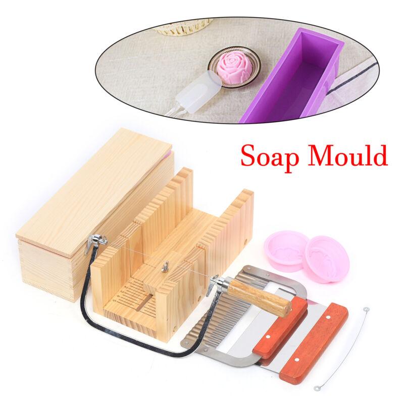 9pc Adjustable Soap Making Kit Loaf Soap Mould Wooden Soap Cutter Slicer New