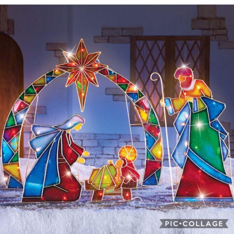 Outdoor Christmas Lighted Stake 4Pcs Yard Mosaic Nativity Scene Holiday Decor