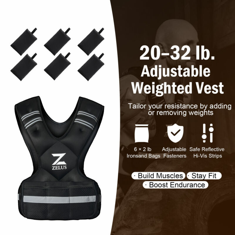 20-32lb Adjustable Weight Workout Equipment Vest for Strength Training & Fitness