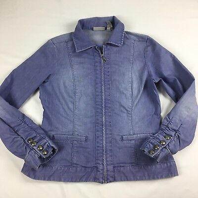 Chico's Platinum Women's Full Zip Denim Jean Jacket Size 1
