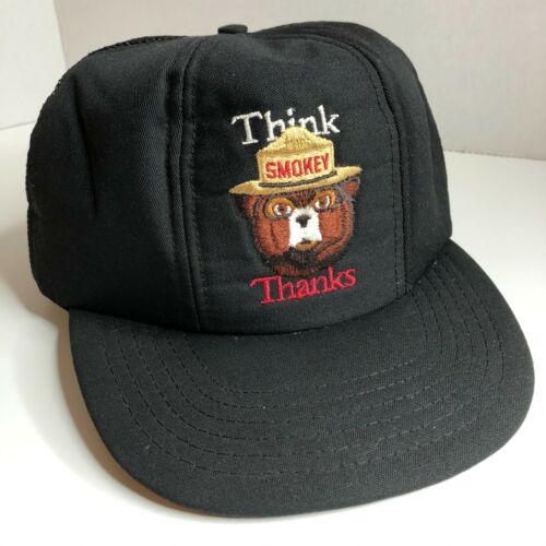 Vintage Smokey the Bear Black Mesh Trucker Hat Think Thanks adjustable snapback