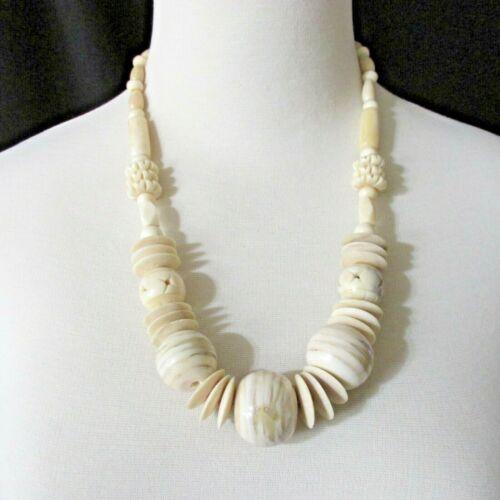 Vintage Bovine Polished Carved Bone Necklace Chunky Unique Hook Clasp
