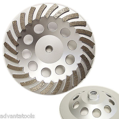 7 Spiral Turbo Diamond Cup Wheel For Concrete Grinding 24 Segs 58-11 Arbor