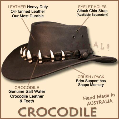 【oZtrALa】LEATHER Hat CROCODILE Band Mens AUSTRALIAN Outback DUNDEE Jacaru Cowboy