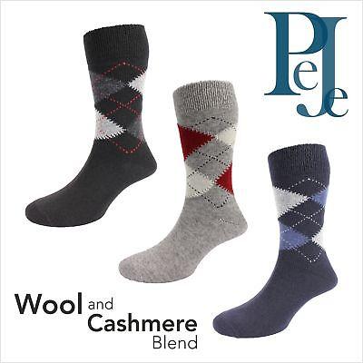 Mens Wool / Cashmere Argyle Socks -Ethan ()