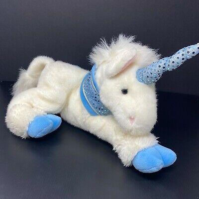 "Vintage Commonwealth White Unicorn Plush Blue Sequin Horn Collar Floppy 14"" 1999"