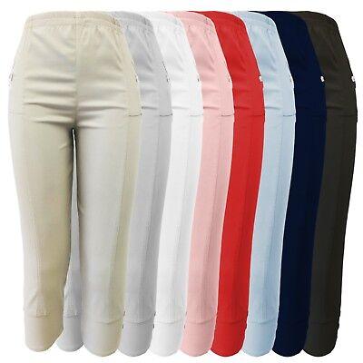 Allen Allen Damen Kleidung (Caprihose Damen kurze Sommerhose 7/8 Stoffhose mit Seitentaschen Stretch alle Gr)