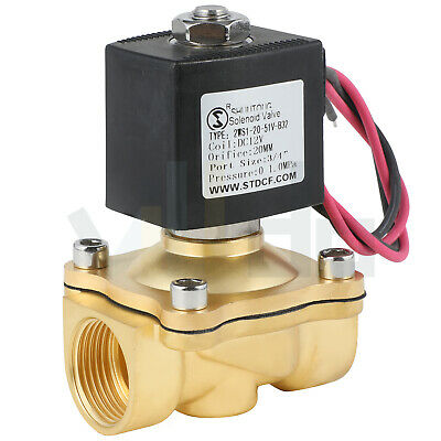 34 Inch Electric Brass Solenoid Valve Dc 12v For Water Gas Fuel Viton
