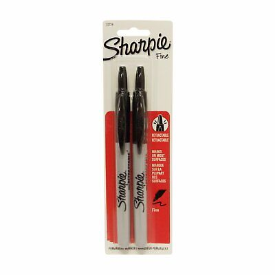 Sharpie Fine Point Retractable Black Permanent Marker 2 Count 1 Pack Each By