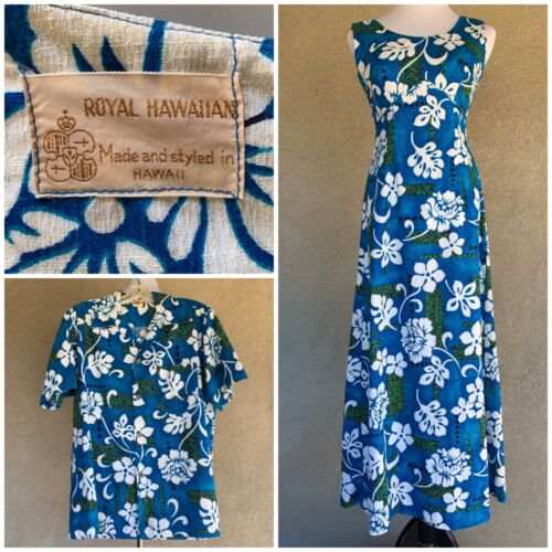 🌺 Vintage Royal Hawaiian Honeymoon Set Barkcloth Dress XS & Men's Shirt M 🌺