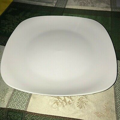 4 Contemporary Square White Stoneware Dinner Plates 11 in. Royal Norfolk NEW](Square White Plates)