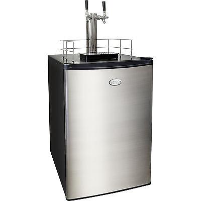 Stainless Steel Twin-tap Beer Kegerator 6.0 Cu. Ft. Home Brew Keg Refrigerator