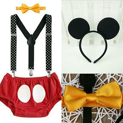 baby boy mickey mouse first 1st birthday outfit 4pc cake smash photo shoot prop  - Baby Mickey Mouse First Birthday