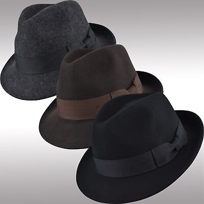Men's Classic Pinch Crown Soft Felt Wool Fedora Hat, Crushable Trilby Hat FHe02