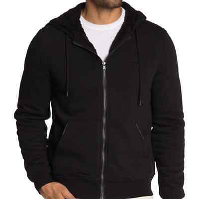 Michael Kors Faux Shearling Lined Hoodie M Medium Black New Msrp $148