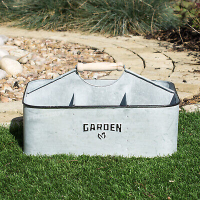 Vintage Zinc Garden Tool Seed Packet Organiser Storage Caddy Box Tidy Holder
