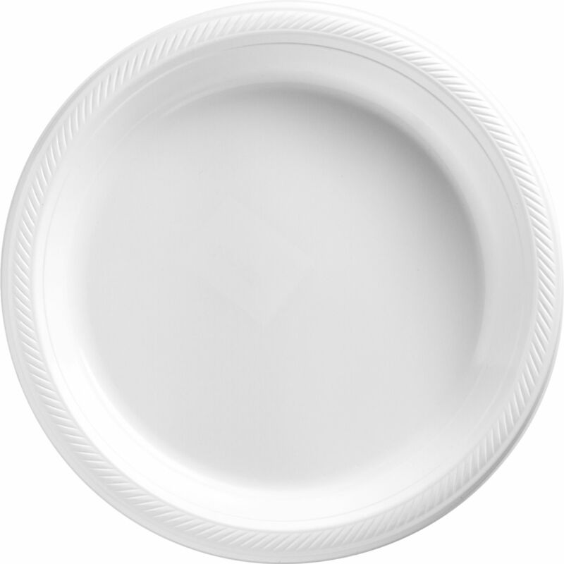 "White Plastic Plates Big Party Pack 50 Count Per Pack 10.25"" for Large Events"