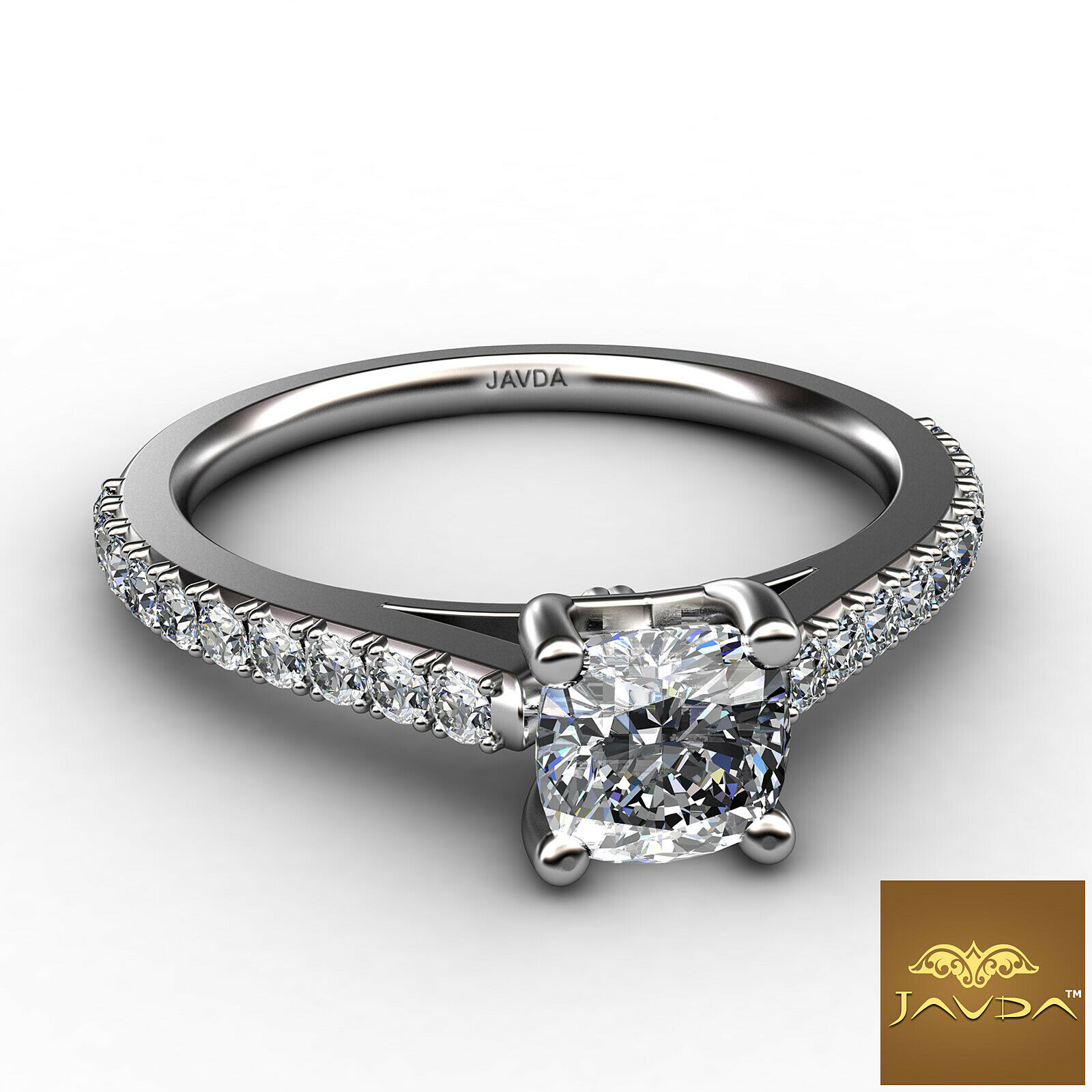 1.01ct Double Prong Setting Cushion Diamond Engagement Ring GIA F-SI1 White Gold 1