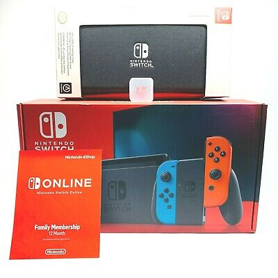 Nintendo Switch Console Red Blue Neon Joy-Cons 128GB Card Protector Case Bundle
