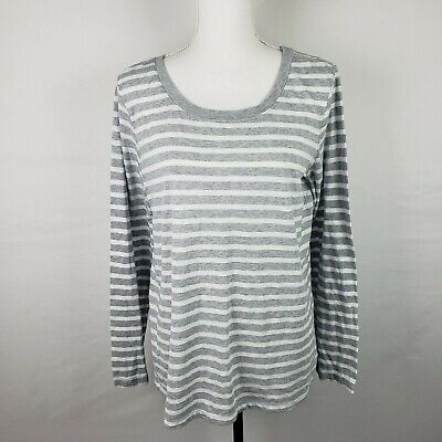 Splendid Scoop Neck Tunic Top - Splendid Womens Tunic Top XXL Cerine Gray White Striped Back Button Scoop Neck