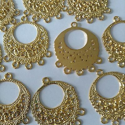 Gold Plated Jewelry Findings - 6 Pcs Gold Plated 33x27mm Ornate Pendants Connectors Beautiful Jewelry Findings