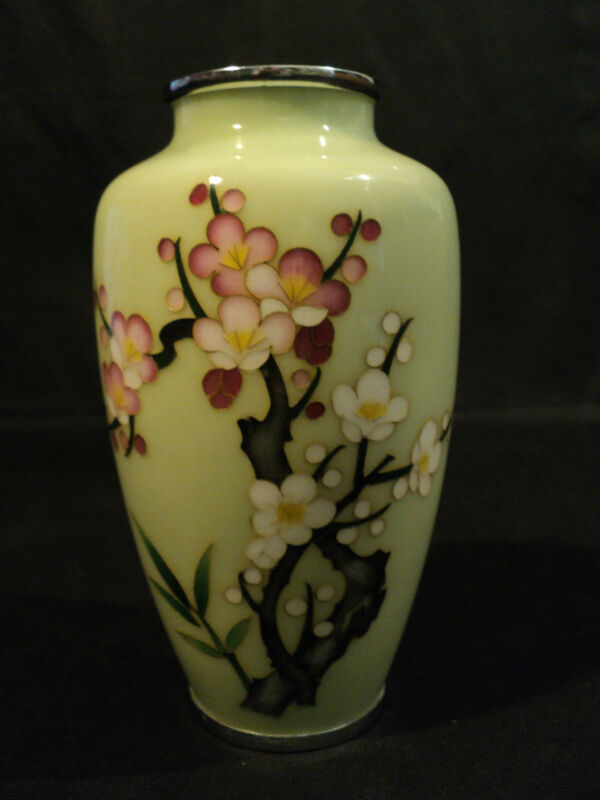 "SIGNED ""INABA"" JAPANESE CLOISONNE ENAMELED VASE, CELADON with NICKLE SILVER RIMS"