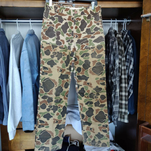 Vintage Duck Camo Canvas Hunting Brush Pants 30x31 Rattlers Made in USA 80s 90s