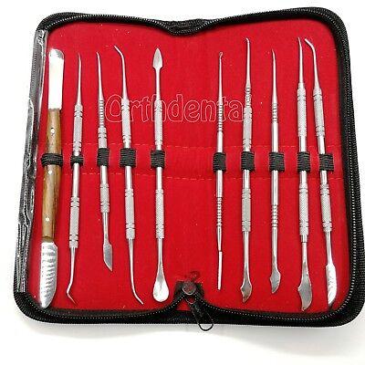 10 Pcs Set Dental Lab Equipment Wax Carving Tool Surgical Dental Instruments Kit