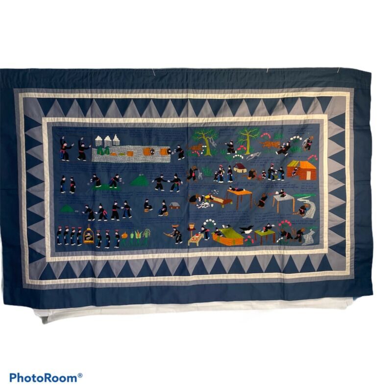 """Hmong Hand Made Embroidered Folk Story Cloth, Tiger Folktale (56""""X35"""")"""