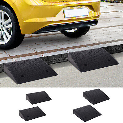 2Pcs Heavy Duty Curb Ramps Rubber Trailer Car Scooter Drivew