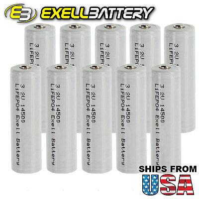 10x Exell 3.2V 500mAh LiFePO4 Size AA 14500 Rechargeable Solar Battery USA SHIP
