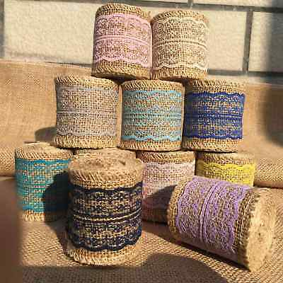 2M Jute Burlap Natural Hessian Ribbon Lace Trim Edge Wedding Rustic Vintage