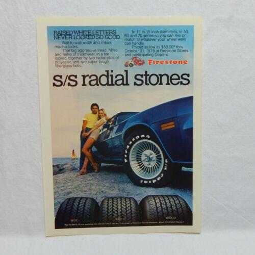 FIRESTONE S/S RADIAL TIRES VINTAGE ADVERTISING MAGAZINE PAGE, SEPTEMBER, 1978