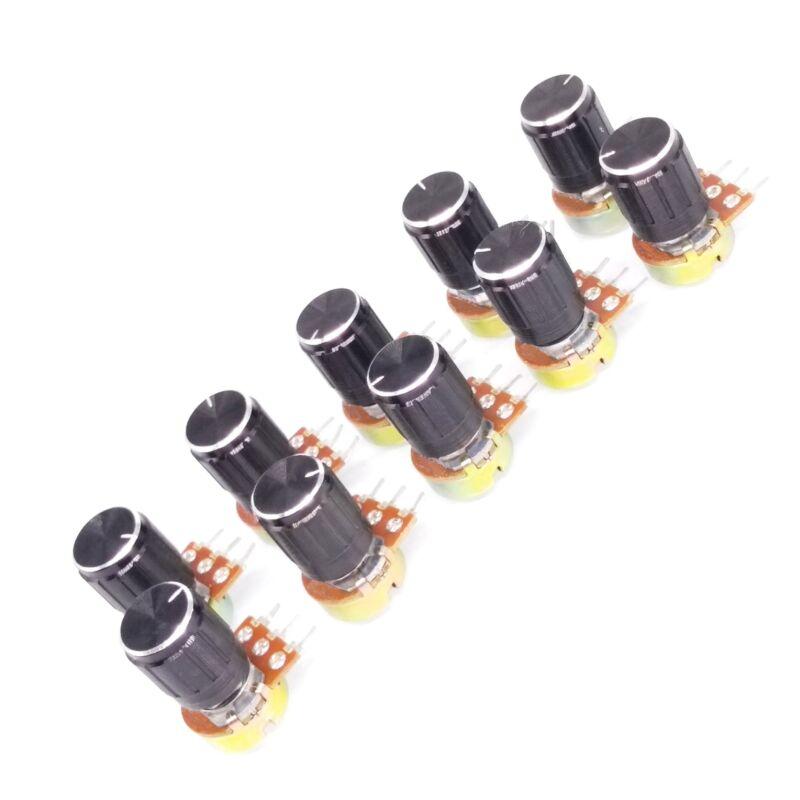 US Stock 10 Units 1M B1M OHM Linear Taper Rotary Potentiometer POT Black Knob