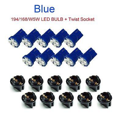 30x T10 Twist Lock Wedge Instrument Panel Blue LED Dash Light Bulb PC168 PC194
