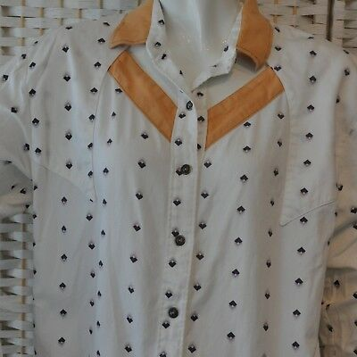 Vintage Womens Roper Western Shirt Cut Out Front & Back White Purple Tan Size L - Western Cut Outs
