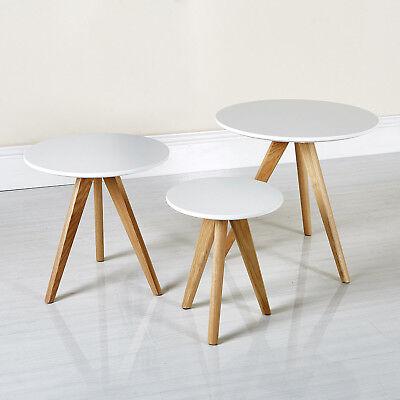 Retro Nest of 3 Tables Scandinavian Matt White Coffee Side Table Pine Leg UK
