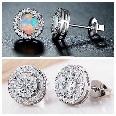 Fire Opal White Gold Plated & Halo Stud Earrings w/ Swarovski Elements (2 pack)