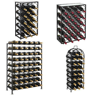 Freestanding Metal Wine Rack Four Steel Sizes Models - Home Iron Decor - Black Wine Rack
