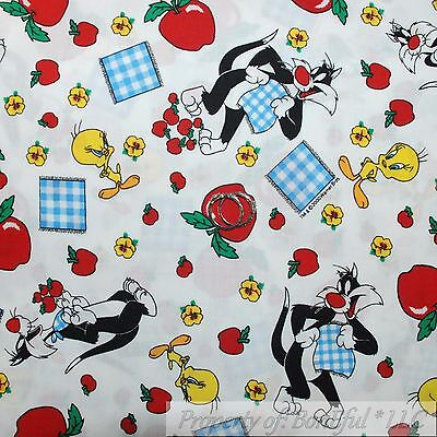 BonEful Fabric FQ Cotton Quilt White Red Sylvester Warner Brothers Tweety Bird S