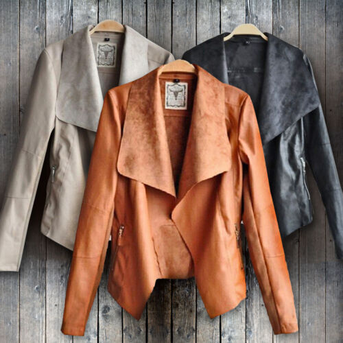 Women's Ladies Leather Jacket Coats Zip Up Biker Casual Flig
