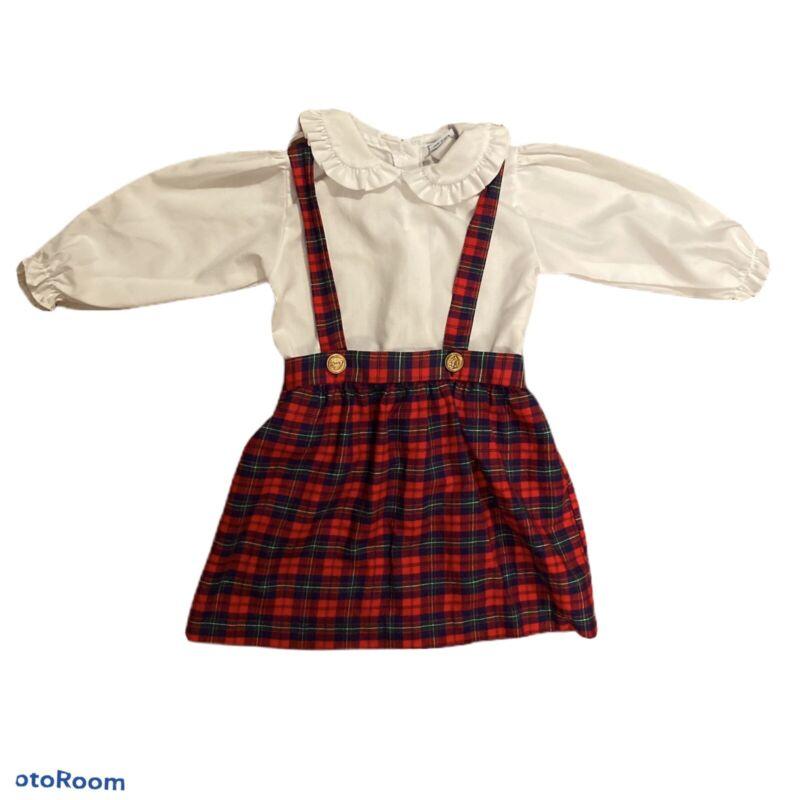 Vintage Alexis Tartan Suspender Skirt, Size 2T